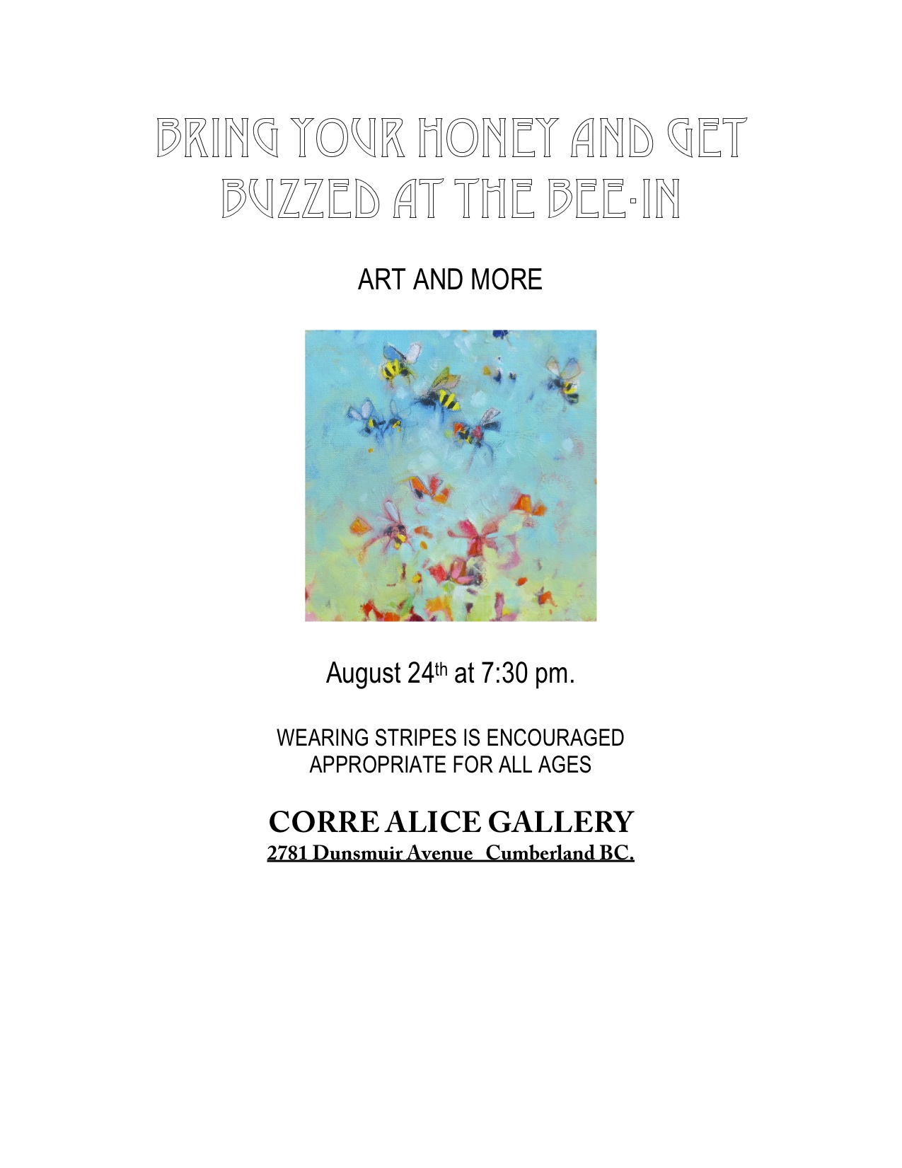 August Exhibit at the Corre alice Gallery